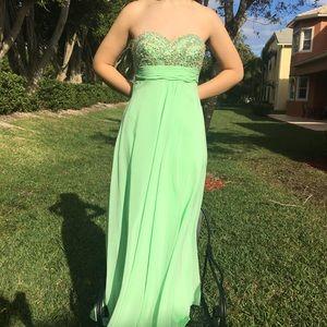 Long Mint Green Beaded Faviana Prom Dress